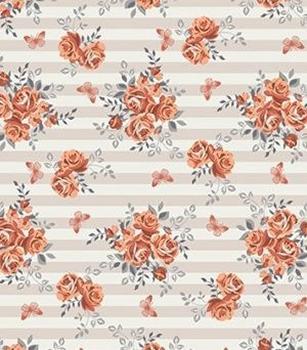 Tecido Tricoline Floral Alaranjado e  Borboletas - Fundo Listrado Bege - Preço de 50 cm X 150 cm