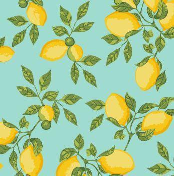 Tecido Tricoline - Coleção Limão Siciliano - Fundo Tiffany