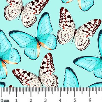 Tecido Digital Borboletas Azuis - Fundo Tiffany - 40 cm