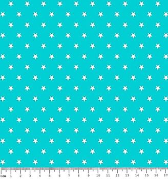 Tecido Tricoline  Estampa Mini Estrela Branca - Fundo Verde Caribe - Preço de 50 cm X 150 cm