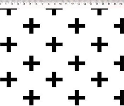 Tecido Tricoline Cruz Preta - Fundo Branco - Coleção Monochrome - Preço de 50 cm X 150 cm