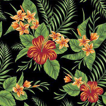 Tecido Tricoline Folhagens e Flor de Hibisco - Fundo Preto - Coleção Paraíso Tropical - Preço de 50 cm x 150 cm