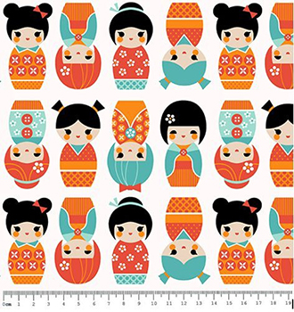Tecido Tricoline Bonequinha Japonesa Kokeshi - Laranja e Tiffany