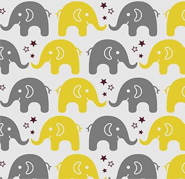 Tecido Tricoline Estampa de Elefante Cinza e Amarelo