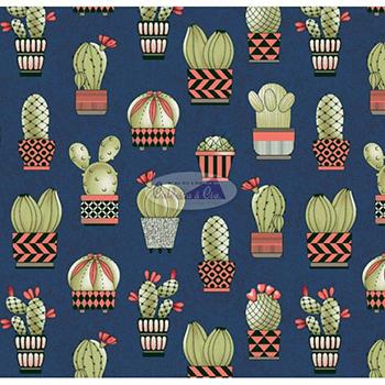 Tecido Sarja Estampada de Cactus - Fundo Azul Marinho - Coleção Cat- Preço de 50cm x 150cm