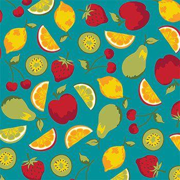 Tecido Tricoline Frutas - Fundo Tiffany - Coleção Salada de Fruta