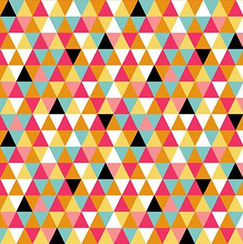 Tecido Tricoline Estampa Triângulos Coloridos - Coleção Bons Amigos - 50 cm x 150 cm