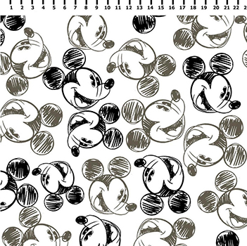 Tecido Tricoline Mickey Mouse Preto e Branco - Disney - Preço de 50 cm x 150 cm
