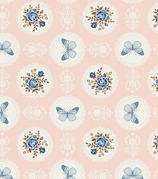Tecido Tricoline Floral e Borboletas - Fundo Rosa Salmão - Preço de 50 cm X 150 cm