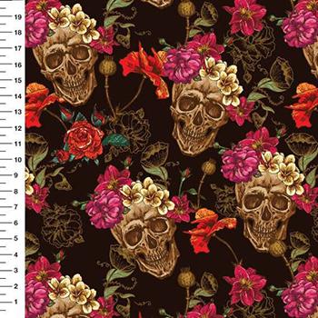 Tecido Tricoline Digital Caveira Floral - Fundo Preto