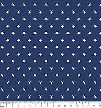 Tecido Tricoline  Estampa Mini Estrela Branca - Fundo Azul Marinho