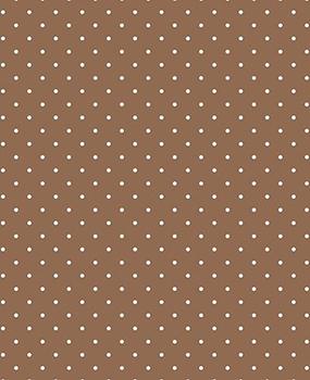 Tecido Tricoline Estampa Micro Poá Branco Fundo Marrom Castor - Preço de 50 cm X 146 cm