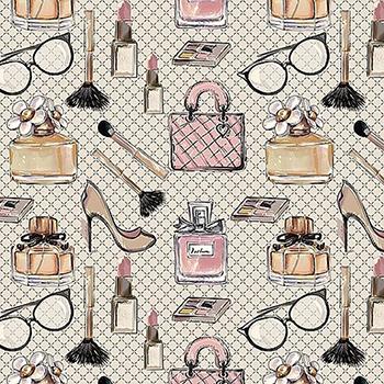 Tecido Digital Mulher Fashion - Fundo Cinza Suave - Coleção Perfumes e Maquiagem