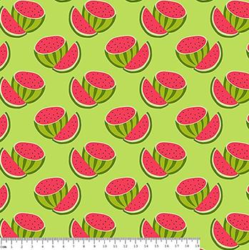Tecido Tricoline Estampado Melancias Cortadas - Fundo Verde - Coleção Melan & Cia - Preço de 50 cm x 150 cm