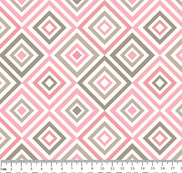 Tecido Tricoline Estampa Geométrica Rosa e Cinza - Fundo Branco