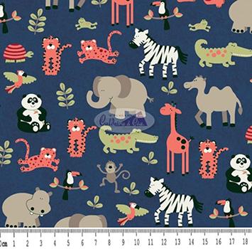 Tecido Tricoline Infantil Bichos - Fundo Azul Marinho - Coleção Viva a Natureza - Preço de 50 cm X 150 cm