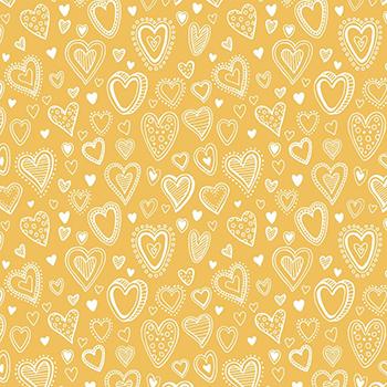 Tecido Tricoline Mini Corações - Fundo Amarelo - Preço de 50 cm x 150 cm