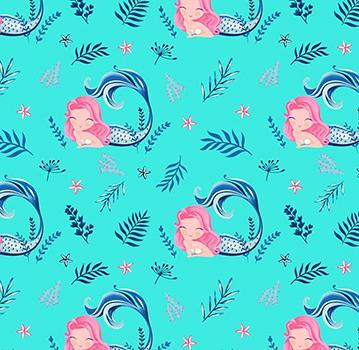 Tecido Tricoline Estampa de Sereia Rosa e Marinho - Fundo Tiffany - Preço de 50 cm X 150 cm