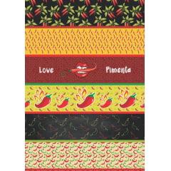 Tecido Estampa Exclusiva de Barrado Pimenta - 100% poliéster - Preço de 60cm x 148cm