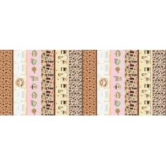 Tecido Estampa Exclusiva de Barrado Cafeteria - 100% poliéster - Preço de 60cm x 148cm