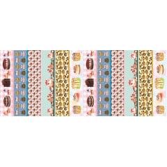 Tecido Estampa Exclusiva de Barrado Bolos - 100% poliéster - Preço de 60cm x 148cm