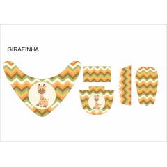 Tecido Painel Kit Babador e Sapatinho de Bebê - Girafa Fofa - Preço de 80cm x 54cm
