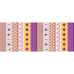 Tecido Estampa Exclusiva de Barrado Cupcake - 100% poliéster - Preço de 60cm x 148cm