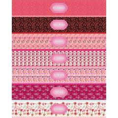 Tecido Estampa Exclusiva de Barrado Semaninha Rosa - 100% poliéster - Preço de 60cm x 148cm