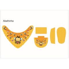 Tecido Painel Kit Babador e Sapatinho de Bebê - Abelhinha - Preço de 80cm x 54cm