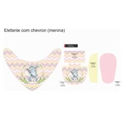 Tecido Painel Kit Babador e Sapatinho de Bebê - Elefantinha - Preço de 80cm x 54cm