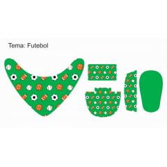 Tecido Painel Kit Babador e Sapatinho de Bebê - Futebol - Preço de 80cm x 54cm