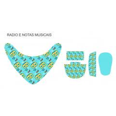 Tecido Painel Kit Babador e Sapatinho de Bebê - Notas Musicais - Preço de 80cm x 54cm