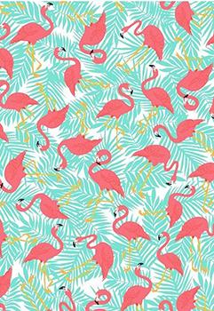 Tecido Tricoline Estampa de Flamingos - Fundo Azul