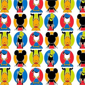 Tecido Tricoline do Mickey e Amigos - Coleção Disney - Preço de 50 cm x 150 cm