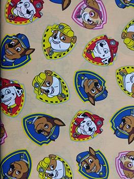 Tecido Tricoline com Estampa da Patrulha Canina - Fundo Bege - Preço de 50 cm X 150 cm
