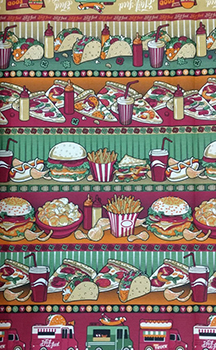 Tecido Tricoline Estampa de Barrados Lanches, Fast Food e Food Truck - Preço de 50 cm X 150 cm