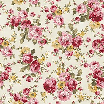 Tecido Tricoline Grand Floral - Fundo Creme - Coleção Exuberance - Preço de 50 cm x 150 cm