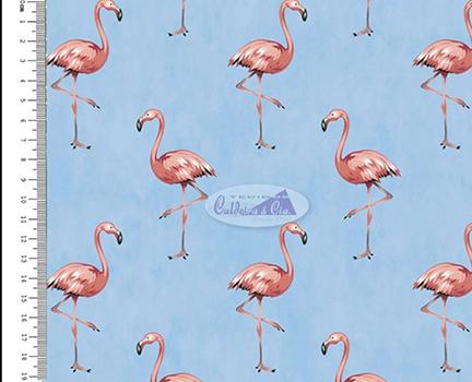 Tecido Tricoline com Estampa de Flamingo - Fundo Azul - Coleção Sweet Dreams - Preço de 50 cm X 150 cm