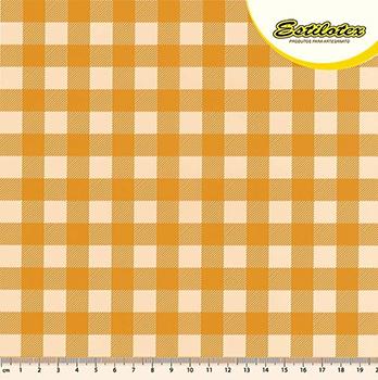 Tecido Tricoline Estampa Xadrez Caramelo e Creme - Preço de 50 cm x 150 cm