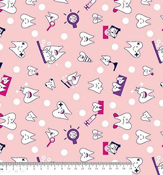 Tecido Tricoline Dentinhos - Fundo Rosa - 40cm
