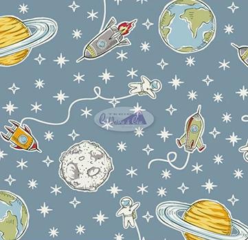 Tecido Tricoline Estampa do Espaço, Foguete e Planeta - Fundo Jade