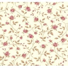Tecido Linho Estampa Floral Rosa - Fundo Cru