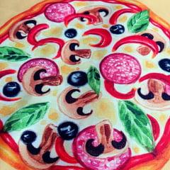 Tecido Sarja Decor - Sousplat - Pizza - Coleção Mesa Posta