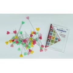 Alfinetes Coloridos Formato de Coração - 4 cm de Comprimento