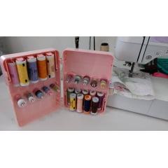 Estojo/Caixa Organizadora de Bobina e Retrós - Kinder Line - Rosa