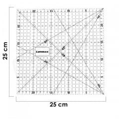 Régua Patchwork Acrílica Transparente 25x25cm