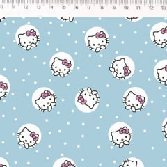 Tecido Tricoline Hello Kitty - Fundo Azul - Preço de 50cm x 150cm