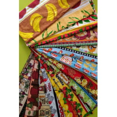 Kit de Retalhos de Tricoline Barrados - 4 pedaços de 40cm x 140cm
