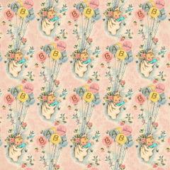 Tricoline Digital Baby VIntage - Fundo Rosa - Coleção Vintage Rosa