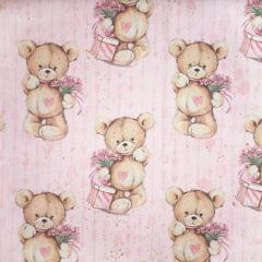 Tecido Tricoline Digital Ursinhos - Fundo Rosa - Preço de 50 cm x 150 cm